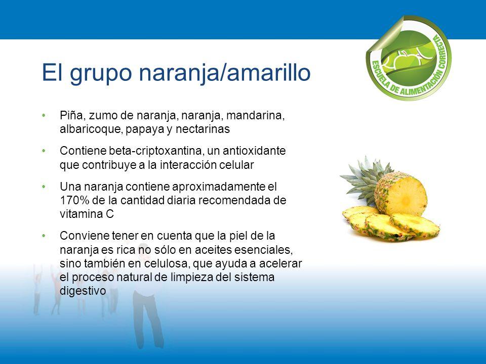El grupo naranja/amarillo Piña, zumo de naranja, naranja, mandarina, albaricoque, papaya y nectarinas Contiene beta-criptoxantina, un antioxidante que