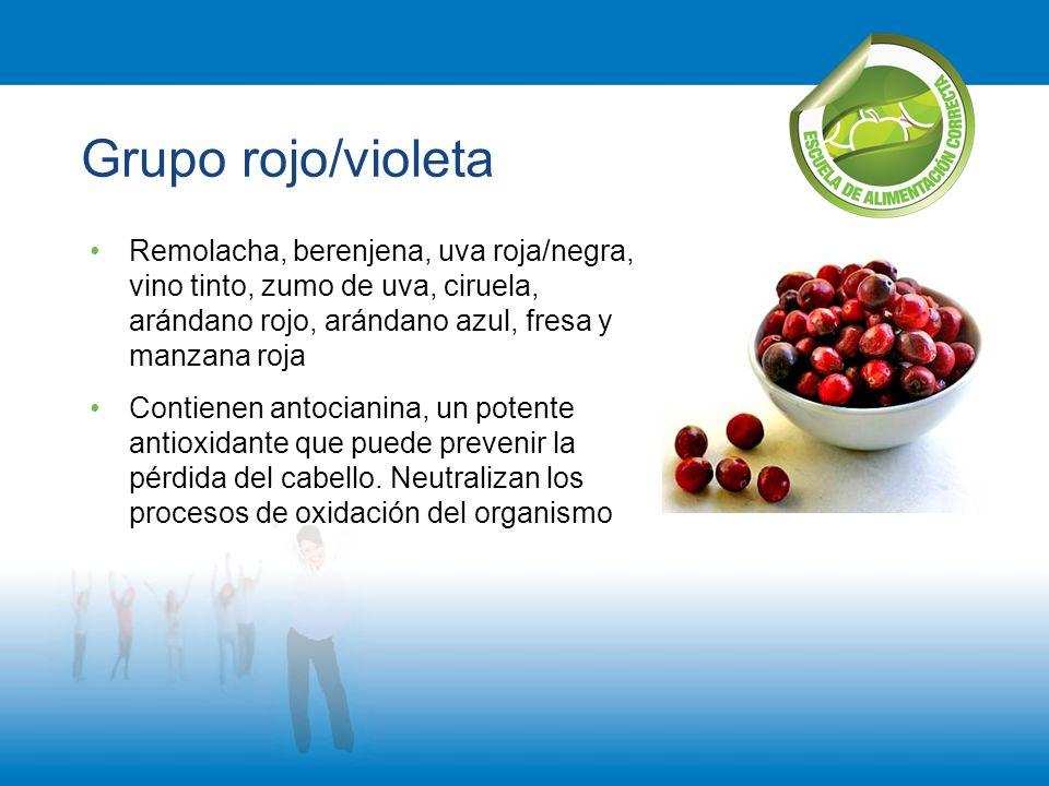 Grupo rojo/violeta Remolacha, berenjena, uva roja/negra, vino tinto, zumo de uva, ciruela, arándano rojo, arándano azul, fresa y manzana roja Contiene