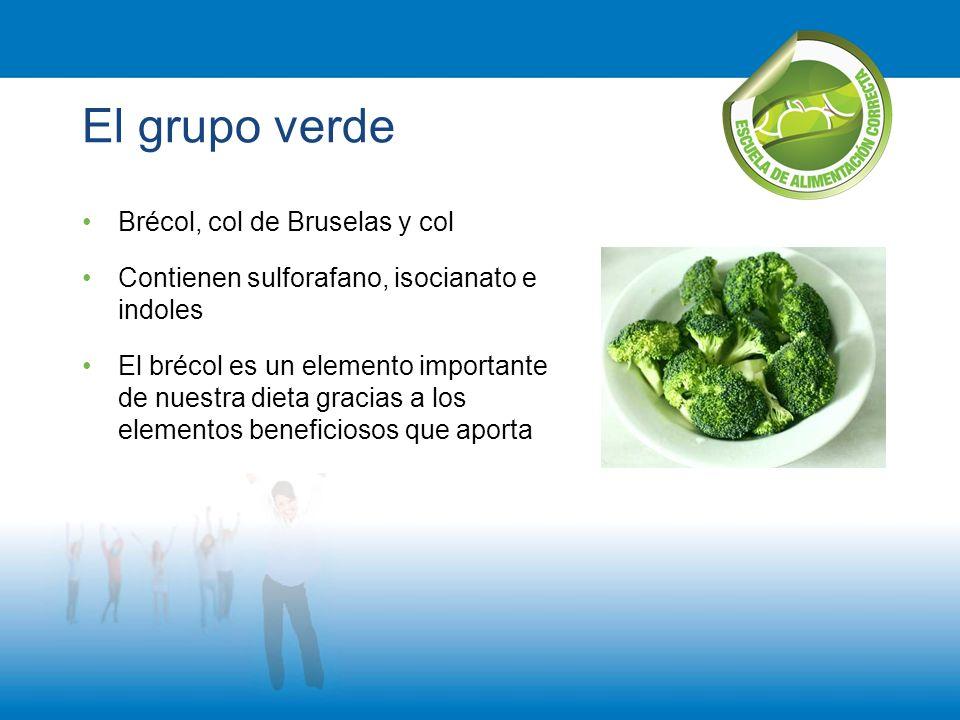 El grupo verde Brécol, col de Bruselas y col Contienen sulforafano, isocianato e indoles El brécol es un elemento importante de nuestra dieta gracias