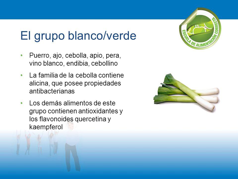 El grupo blanco/verde Puerro, ajo, cebolla, apio, pera, vino blanco, endibia, cebollino La familia de la cebolla contiene alicina, que posee propiedad