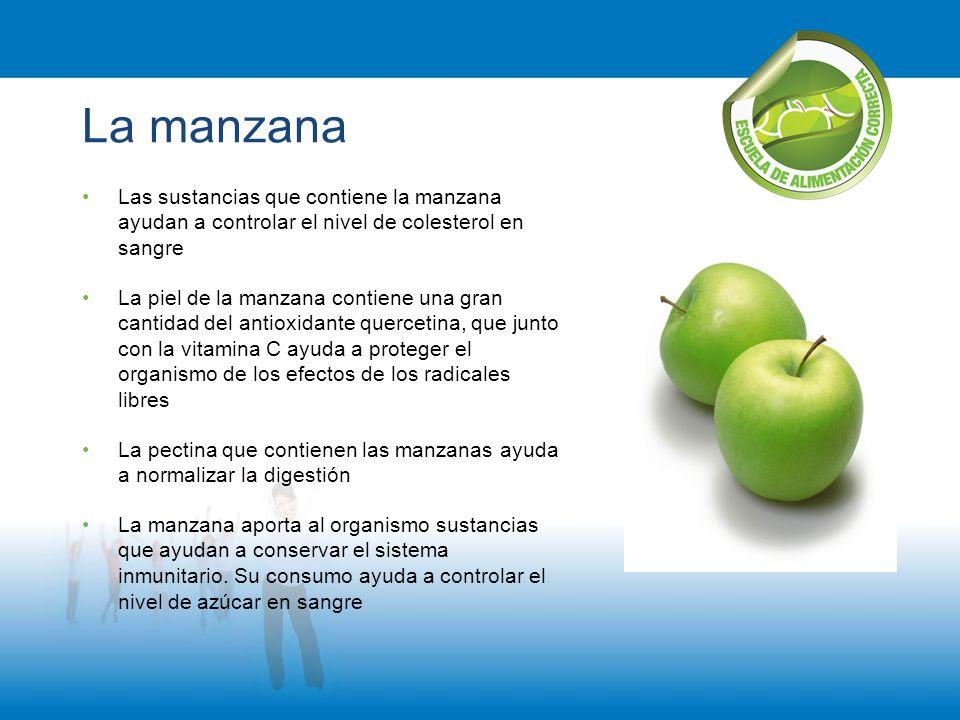 La manzana Las sustancias que contiene la manzana ayudan a controlar el nivel de colesterol en sangre La piel de la manzana contiene una gran cantidad