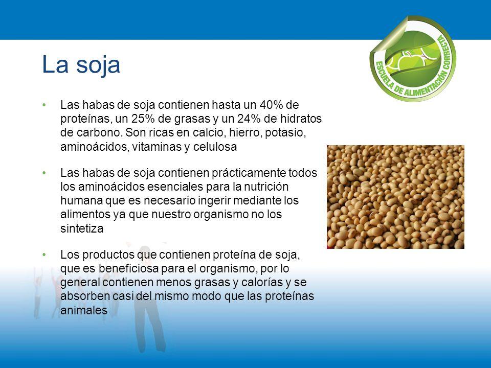 La soja Las habas de soja contienen hasta un 40% de proteínas, un 25% de grasas y un 24% de hidratos de carbono. Son ricas en calcio, hierro, potasio,