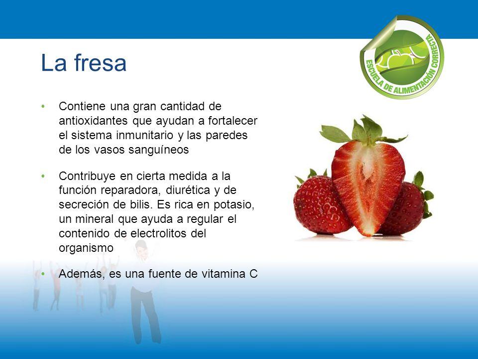 La fresa Contiene una gran cantidad de antioxidantes que ayudan a fortalecer el sistema inmunitario y las paredes de los vasos sanguíneos Contribuye e
