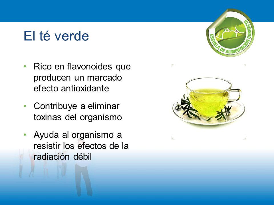 El té verde Rico en flavonoides que producen un marcado efecto antioxidante Contribuye a eliminar toxinas del organismo Ayuda al organismo a resistir