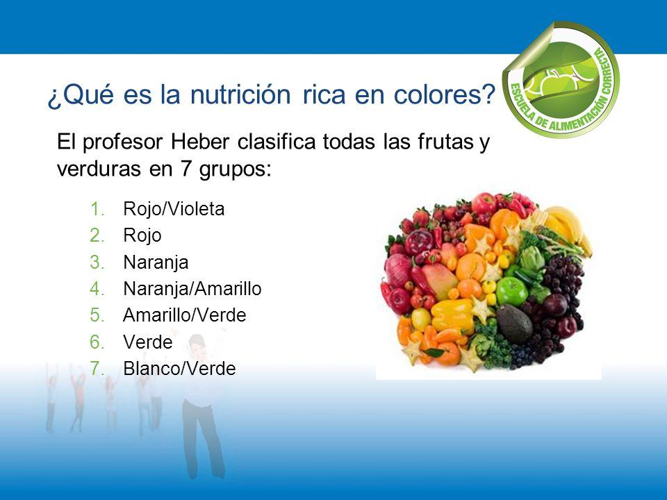 El profesor Heber clasifica todas las frutas y verduras en 7 grupos: 1.Rojo/Violeta 2.Rojo 3.Naranja 4.Naranja/Amarillo 5.Amarillo/Verde 6.Verde 7.Bla