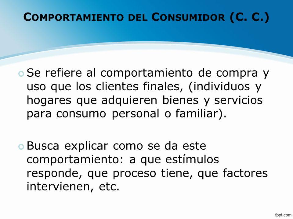 C OMPORTAMIENTO DEL C ONSUMIDOR (C. C.) Se refiere al comportamiento de compra y uso que los clientes finales, (individuos y hogares que adquieren bie
