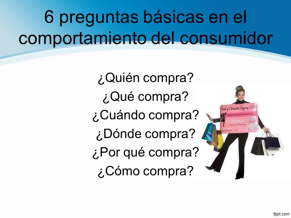 6 preguntas básicas en el comportamiento del consumidor ¿Quién compra? ¿Qué compra? ¿Cuándo compra? ¿Dónde compra? ¿Por qué compra? ¿Cómo compra?