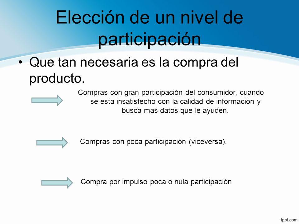 Elección de un nivel de participación Que tan necesaria es la compra del producto. Compras con gran participación del consumidor, cuando se esta insat