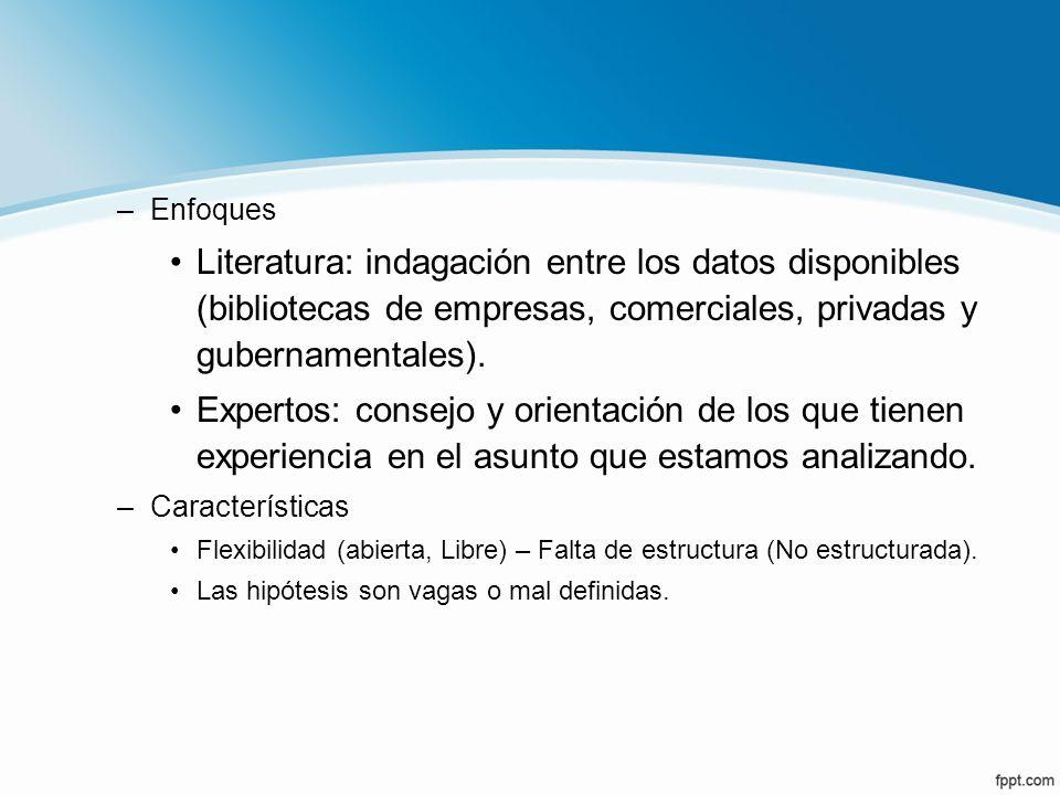 –Enfoques Literatura: indagación entre los datos disponibles (bibliotecas de empresas, comerciales, privadas y gubernamentales). Expertos: consejo y o