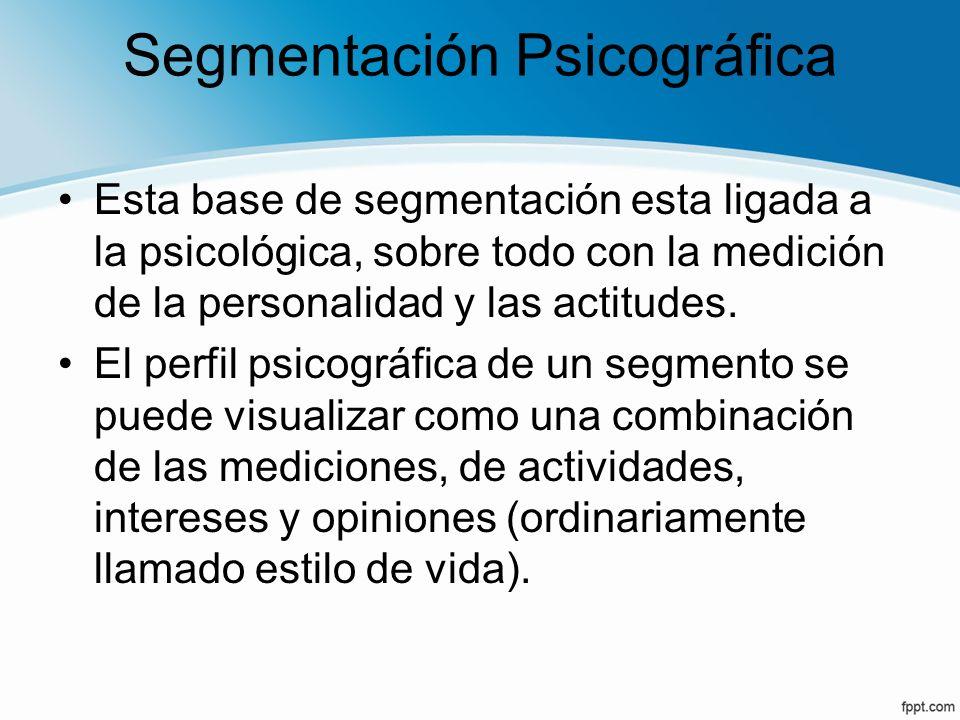 Segmentación Psicográfica Esta base de segmentación esta ligada a la psicológica, sobre todo con la medición de la personalidad y las actitudes. El pe