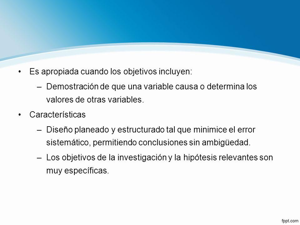 Es apropiada cuando los objetivos incluyen: –Demostración de que una variable causa o determina los valores de otras variables. Características –Diseñ