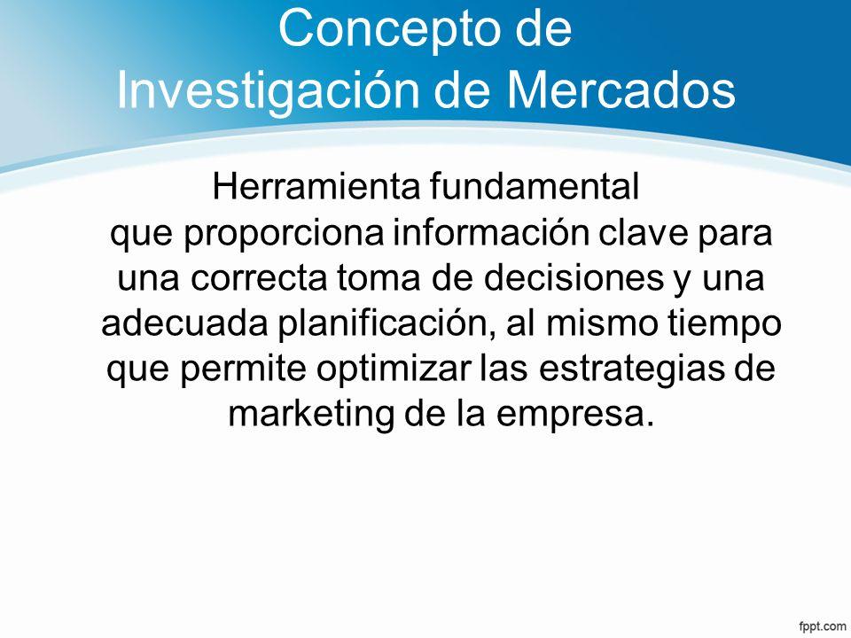 Concepto de Investigación de Mercados Consiste en recopilar, seleccionar, organizar e interpretar la información del mercado con la finalidad de eliminar la incertidumbre.