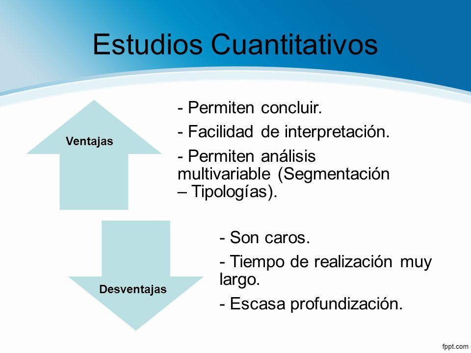 Estudios Cuantitativos - Permiten concluir. - Facilidad de interpretación. - Permiten análisis multivariable (Segmentación – Tipologías). - Son caros.