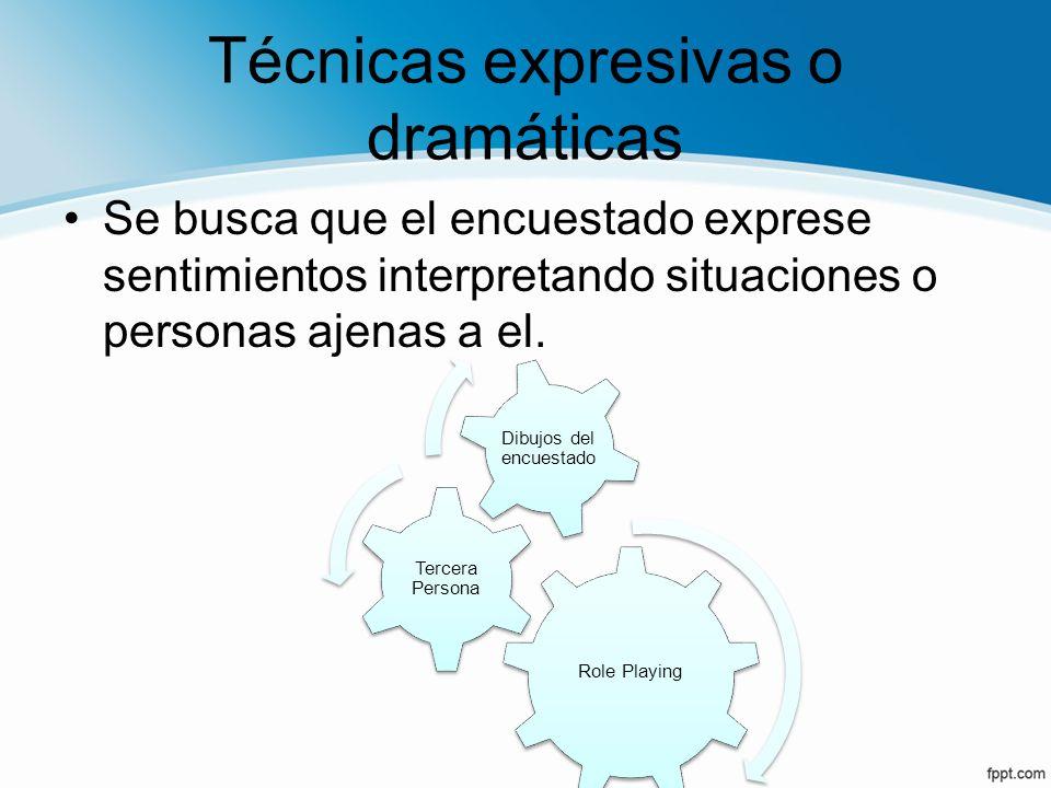 Técnicas expresivas o dramáticas Se busca que el encuestado exprese sentimientos interpretando situaciones o personas ajenas a el. Role Playing Tercer