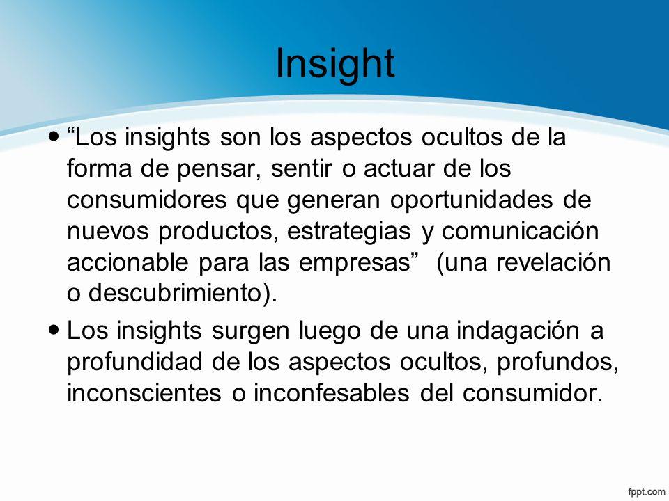 Insight Los insights son los aspectos ocultos de la forma de pensar, sentir o actuar de los consumidores que generan oportunidades de nuevos productos