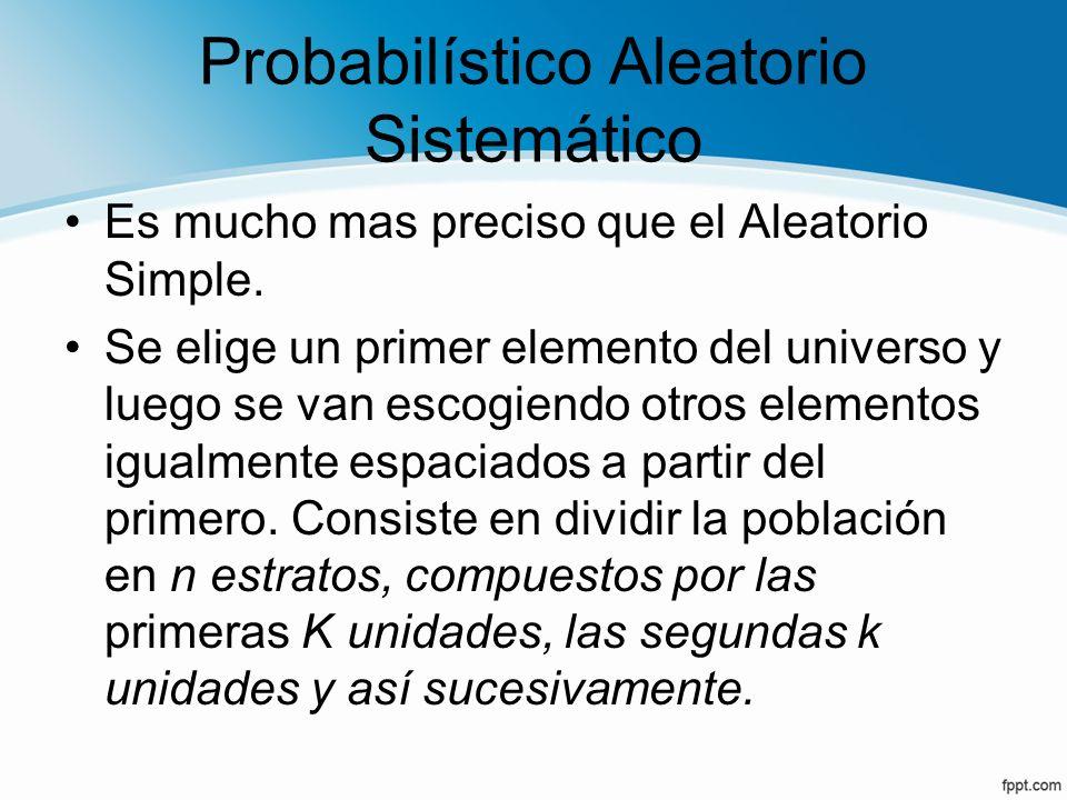 Probabilístico Aleatorio Sistemático Es mucho mas preciso que el Aleatorio Simple. Se elige un primer elemento del universo y luego se van escogiendo
