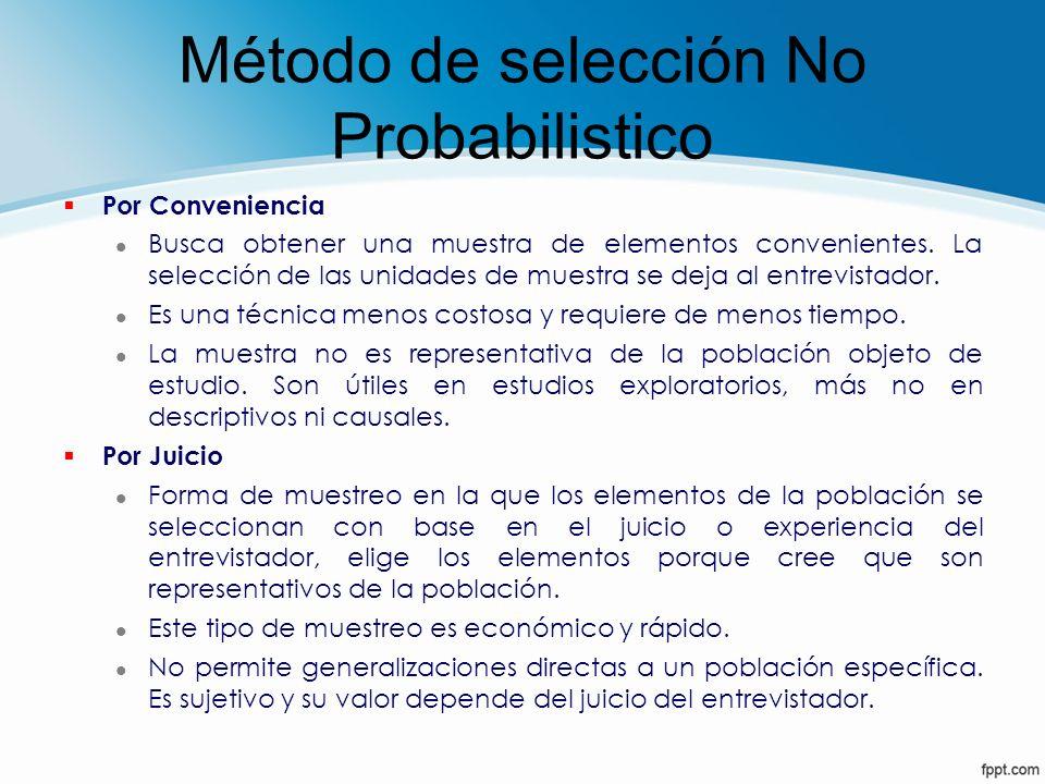 Método de selección No Probabilistico § Por Conveniencia l Busca obtener una muestra de elementos convenientes. La selección de las unidades de muestr