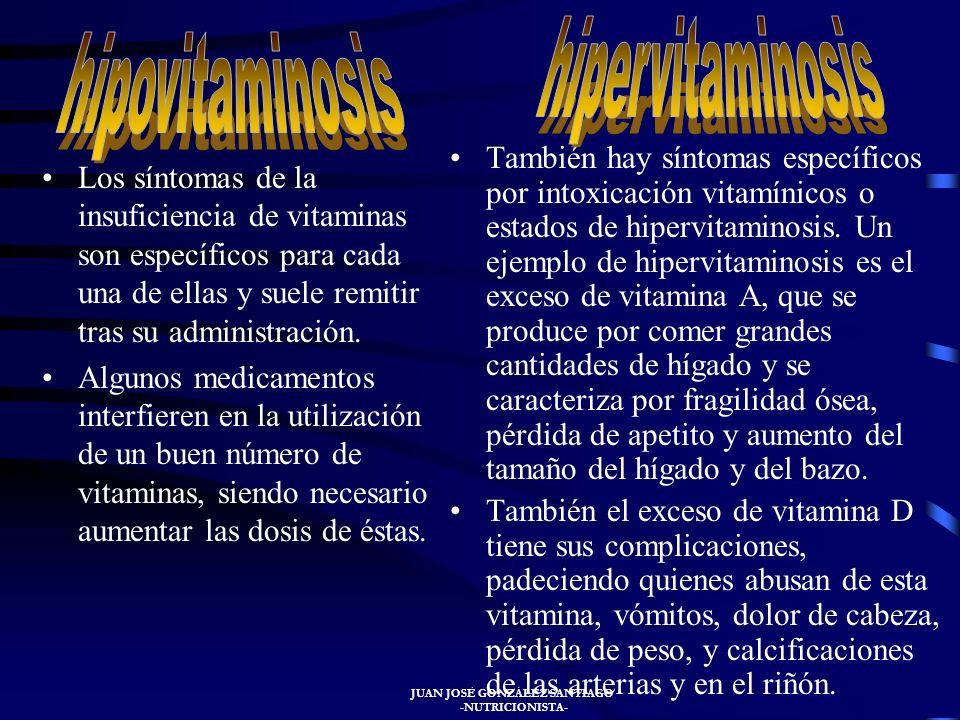 JUAN JOSÉ GONZÁLEZ SANTIAGO -NUTRICIONISTA- TIPOS DE VITAMINAS Las vitaminas se dividen en dos grandes grupos, las vitaminas hidrosolubles y las lipos