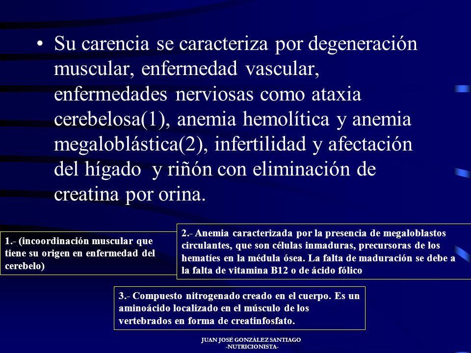 JUAN JOSÉ GONZÁLEZ SANTIAGO -NUTRICIONISTA- Deficiencia La deficiencia de vitamina E se produce en lactantes que reciben dieta rica en aceites insatur
