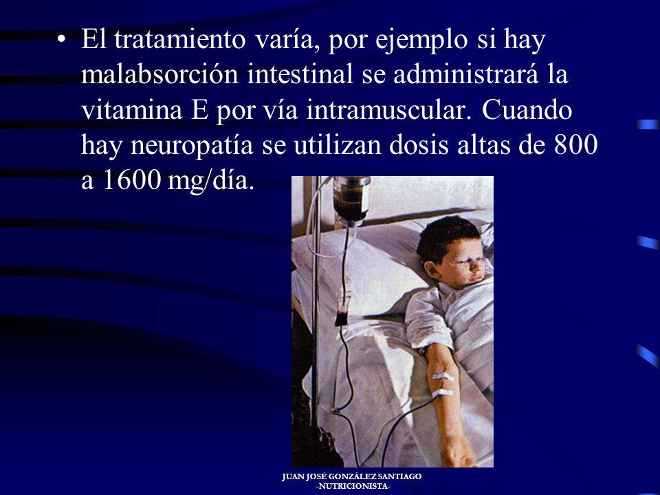 JUAN JOSÉ GONZÁLEZ SANTIAGO -NUTRICIONISTA- Su carencia se caracteriza por degeneración muscular, enfermedad vascular, enfermedades nerviosas como ata