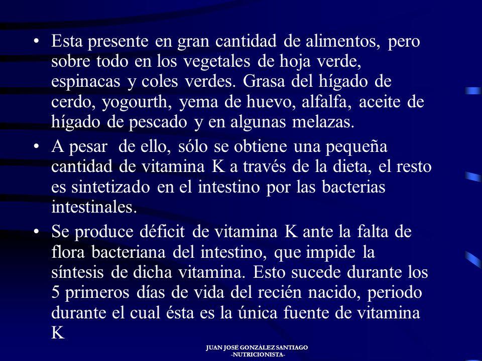 JUAN JOSÉ GONZÁLEZ SANTIAGO -NUTRICIONISTA- VITAMINA K Se denomina fito-menadiona. La vitamina K es un grupo de quinonas insolubles an agua conocidas