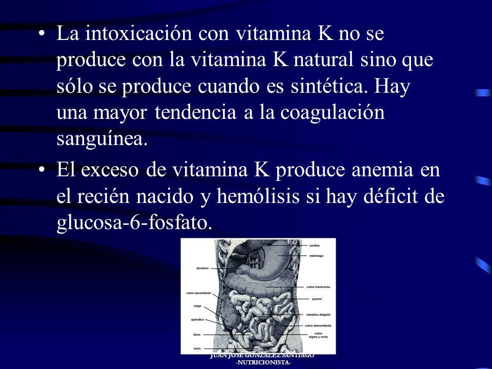JUAN JOSÉ GONZÁLEZ SANTIAGO -NUTRICIONISTA- La deficiencia de vitamina K se trata mediante la administración de vitamina K por vía parenteral, (intrav