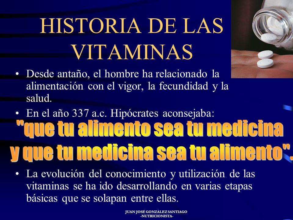 JUAN JOSÉ GONZÁLEZ SANTIAGO -NUTRICIONISTA- Los síntomas de la insuficiencia de vitaminas son específicos para cada una de ellas y suele remitir tras