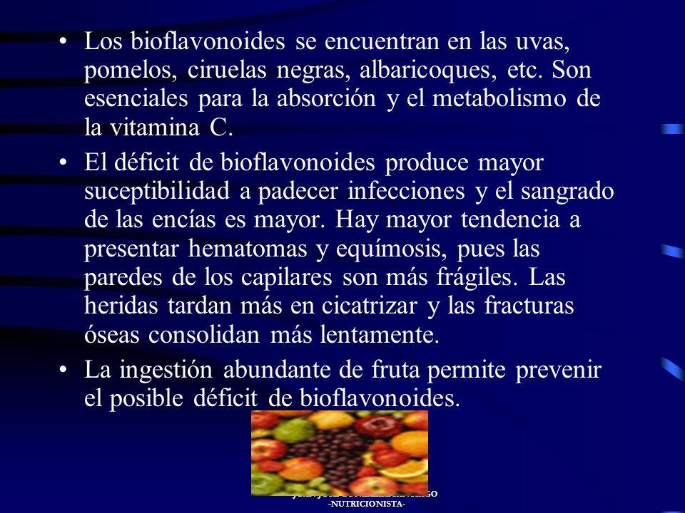 JUAN JOSÉ GONZÁLEZ SANTIAGO -NUTRICIONISTA- BIOFLAVONOIDES O VITAMINA P Es el nombre genérico de un grupo de flavonas coloreadas como la citrina, hasp