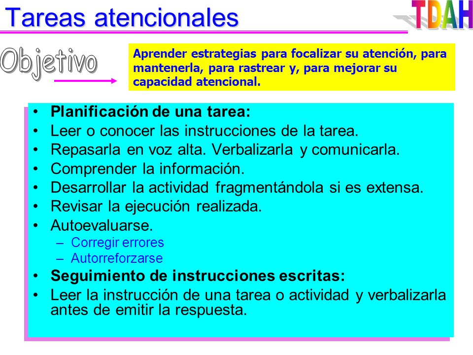 Autoinstrucciones Modelado Guía externa manifiesta Autoinstrucción manifiesta Autoinstrucción encubierta Tipos de verbalizaciones: ¿Qué debo hacer? ¿C