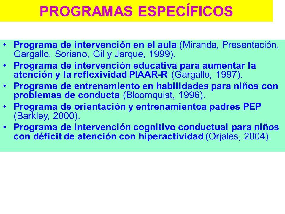 PROGRAMAS ESPECÍFICOS ESCUCHA. Programa de mejora de la atención auditiva. Cañoto, Ramiro y López, (2000). ALBOR-COHS. ENFÓCATE. Programa de entrenami