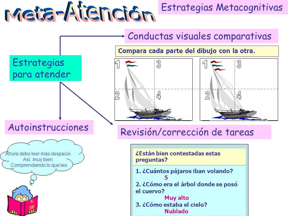 Estrategias Metacognitivas Estrategias para atender Conductas de Rastreo visual Sigue con la vista todos los dibujos. Sigue la dirección de las flecha