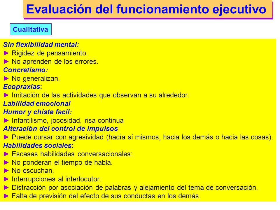 Evaluación del funcionamiento ejecutivo Cualitativa Comportamental: Alteraciones en la planificación, programación y regulación del comportamiento., L