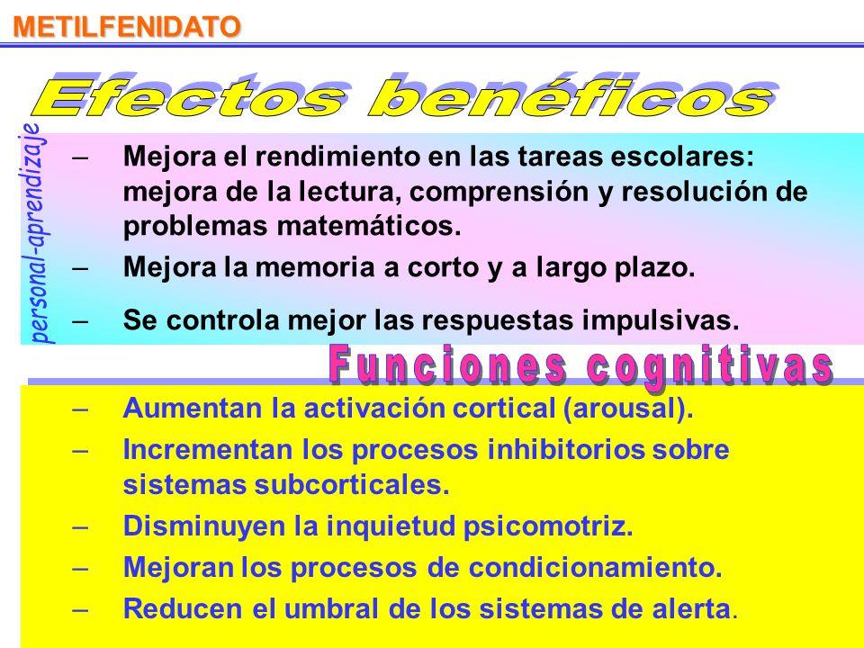 De liberación prolongada No crea adicción No debe abandonarse la medicación Ritalín Rubifén –R–Reducción de la actividad motora y de la inquietud (hip