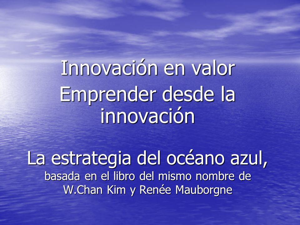 La estrategia del océano azul, basada en el libro del mismo nombre de W.Chan Kim y Renée Mauborgne Innovación en valor Emprender desde la innovación