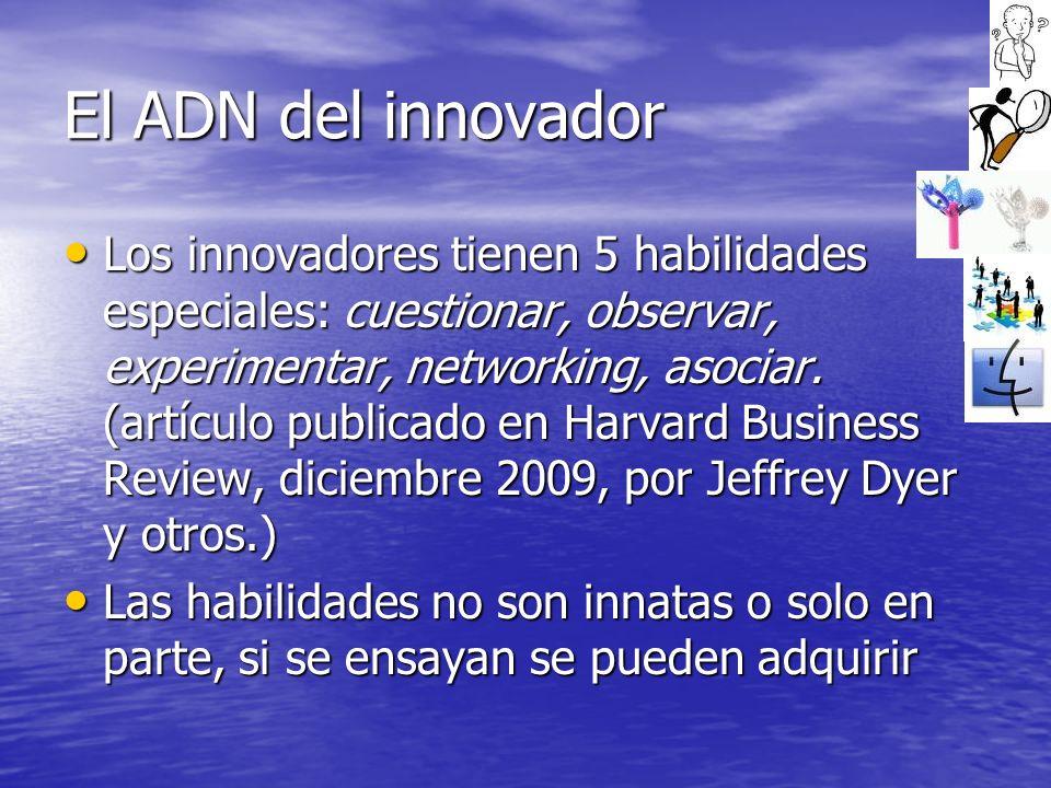 El ADN del innovador Los innovadores tienen 5 habilidades especiales: cuestionar, observar, experimentar, networking, asociar. (artículo publicado en
