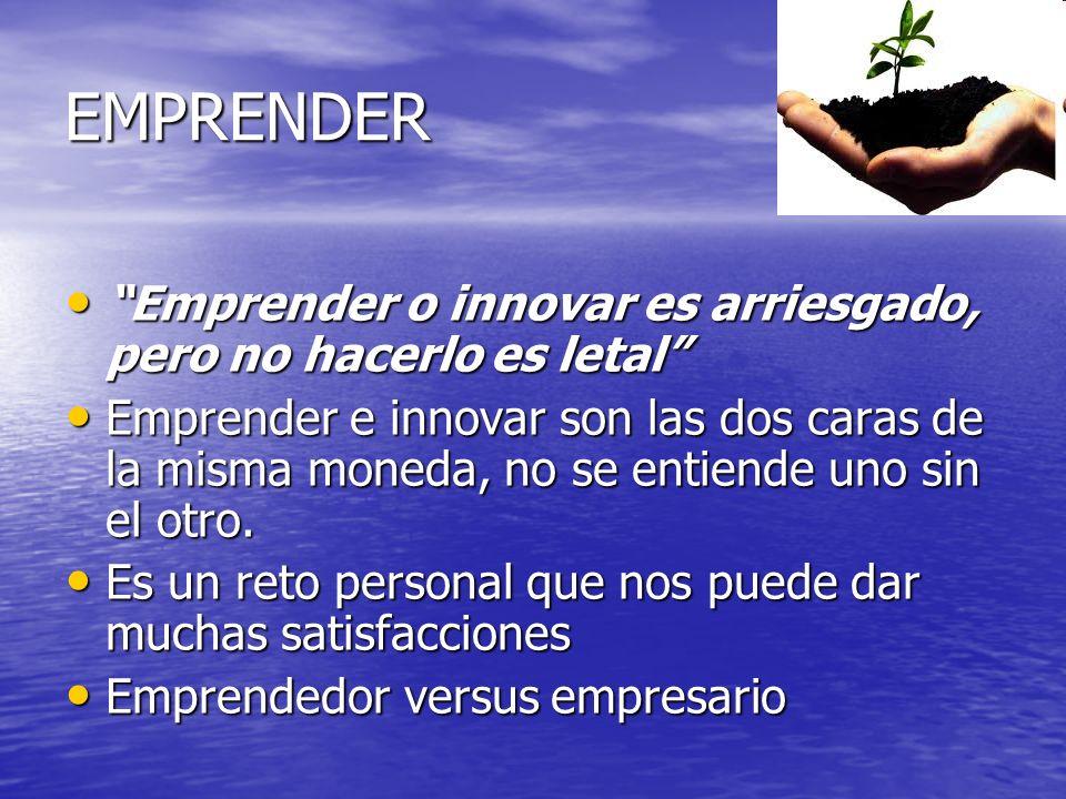 EMPRENDER Emprender o innovar es arriesgado, pero no hacerlo es letal Emprender o innovar es arriesgado, pero no hacerlo es letal Emprender e innovar