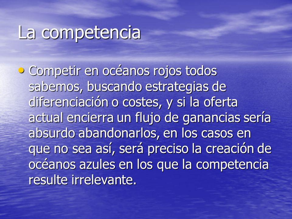 La competencia Competir en océanos rojos todos sabemos, buscando estrategias de diferenciación o costes, y si la oferta actual encierra un flujo de ga