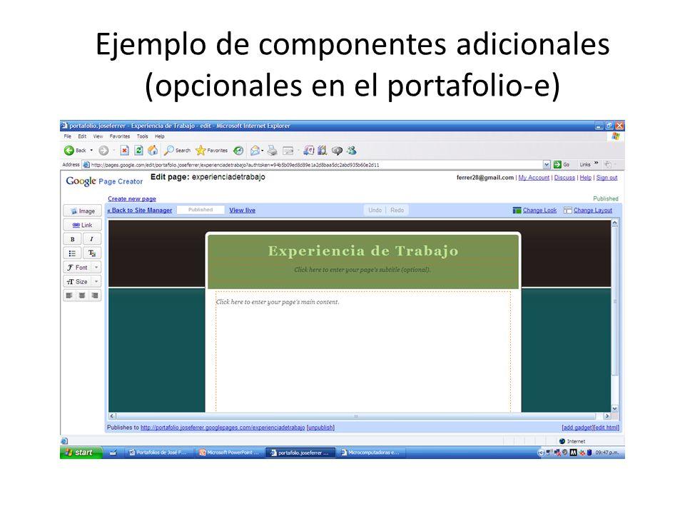Ejemplo de componentes adicionales (opcionales en el portafolio-e)