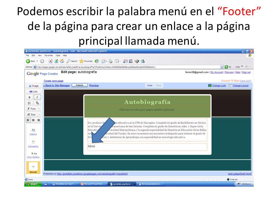 Podemos escribir la palabra menú en el Footer de la página para crear un enlace a la página principal llamada menú.