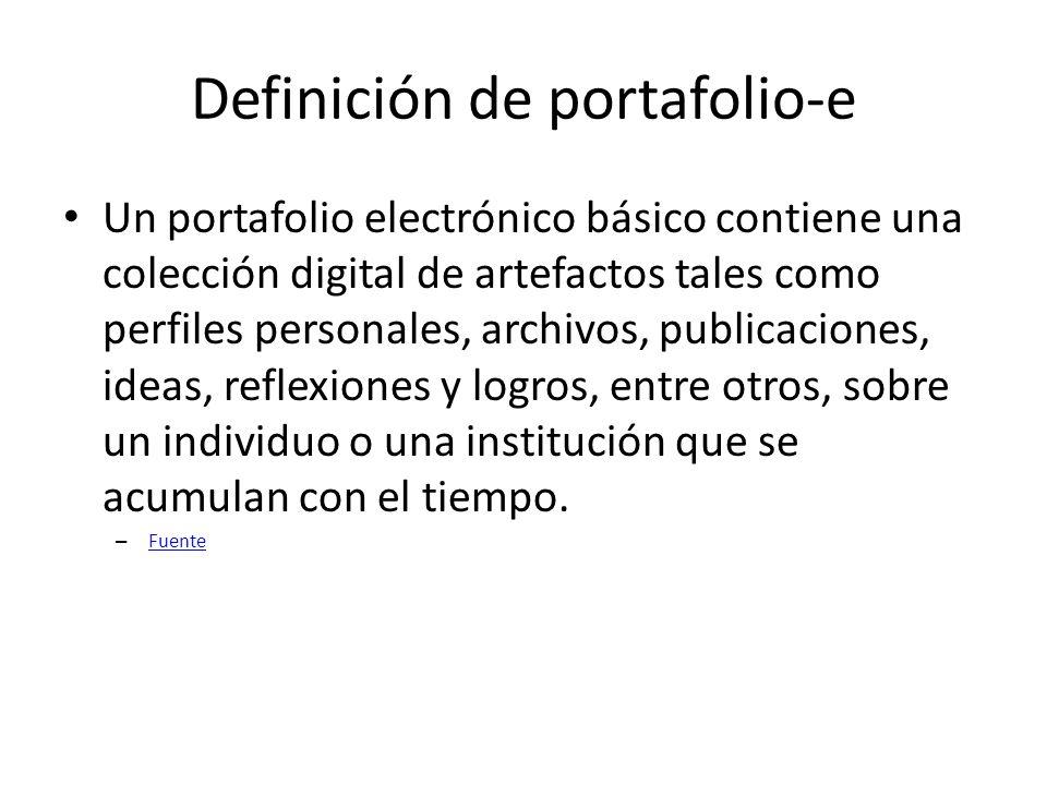 Definición de portafolio-e Un portafolio electrónico básico contiene una colección digital de artefactos tales como perfiles personales, archivos, publicaciones, ideas, reflexiones y logros, entre otros, sobre un individuo o una institución que se acumulan con el tiempo.