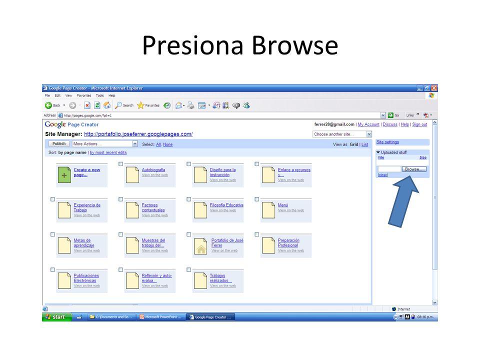 Presiona Browse