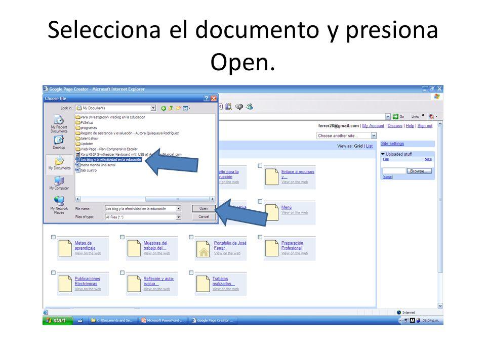 Selecciona el documento y presiona Open.