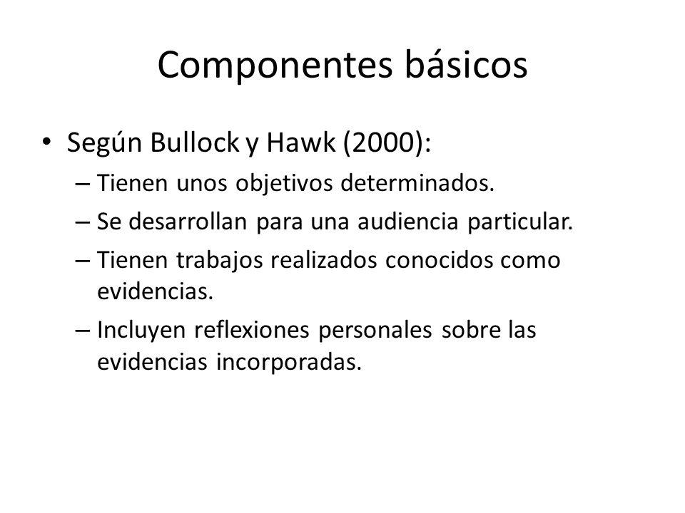 Componentes básicos Según Bullock y Hawk (2000): – Tienen unos objetivos determinados.