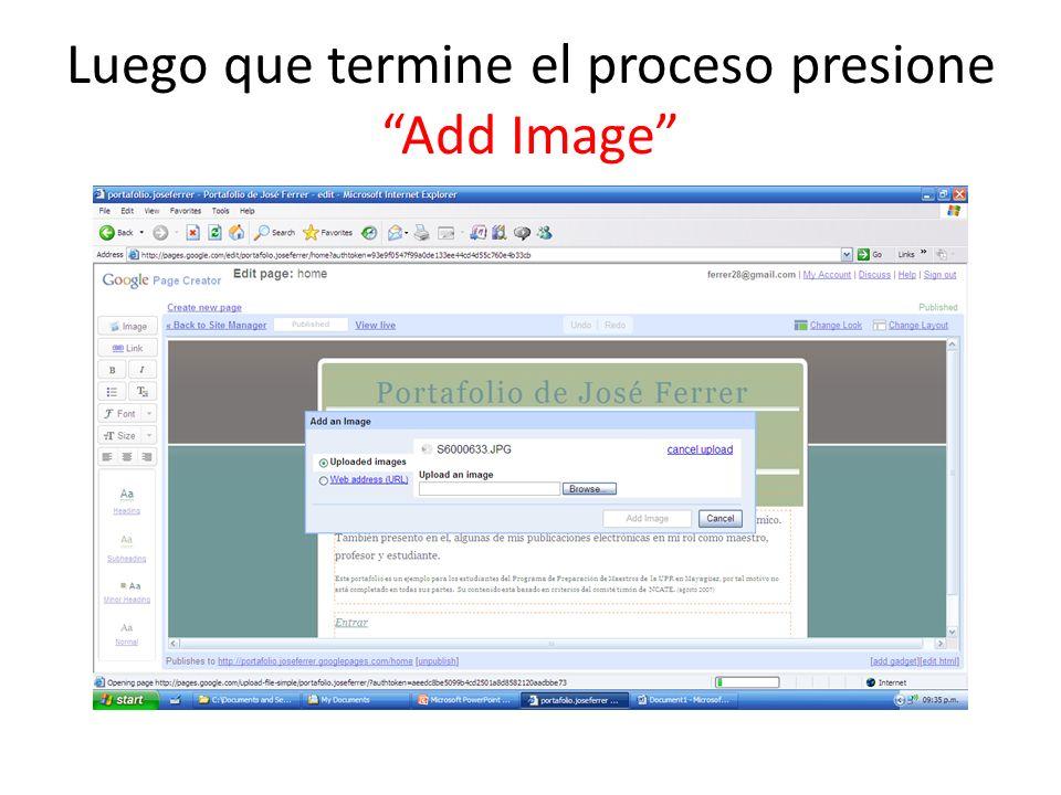 Luego que termine el proceso presione Add Image