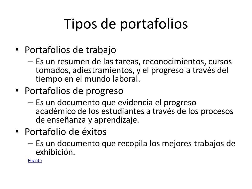 Tipos de portafolios Portafolios de trabajo – Es un resumen de las tareas, reconocimientos, cursos tomados, adiestramientos, y el progreso a través del tiempo en el mundo laboral.