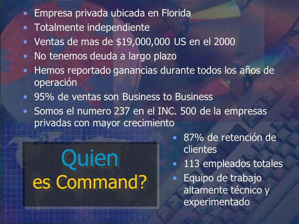Empresa privada ubicada en Florida Totalmente independiente Ventas de mas de $19,000,000 US en el 2000 No tenemos deuda a largo plazo Hemos reportado ganancias durante todos los años de operación 95% de ventas son Business to Business Somos el numero 237 en el INC.