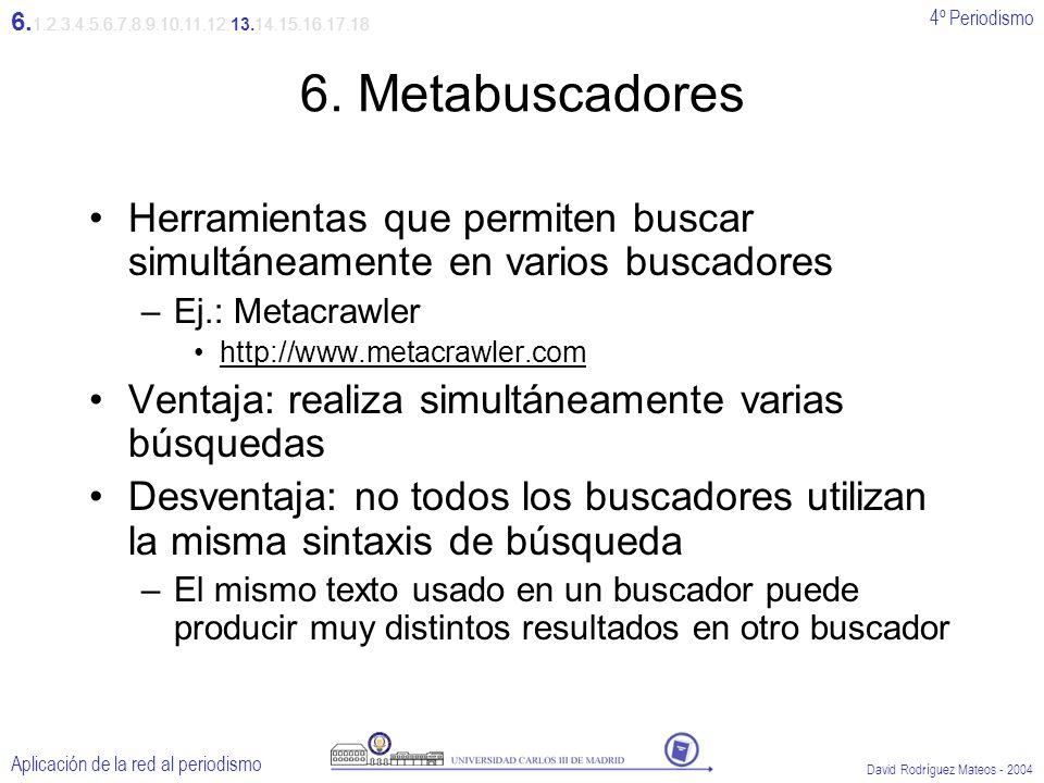 4º Periodismo Aplicación de la red al periodismo David Rodríguez Mateos - 2004 6.