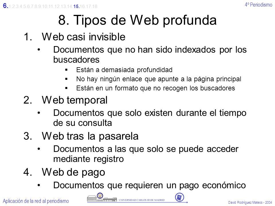 4º Periodismo Aplicación de la red al periodismo David Rodríguez Mateos - 2004 8.