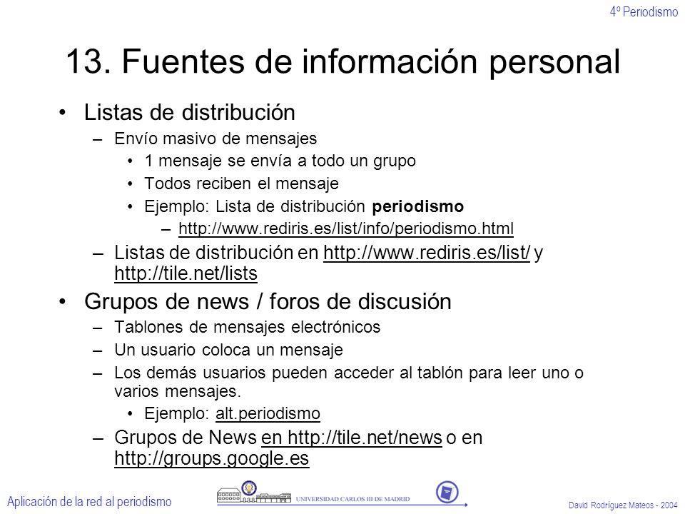 4º Periodismo Aplicación de la red al periodismo David Rodríguez Mateos - 2004 13.