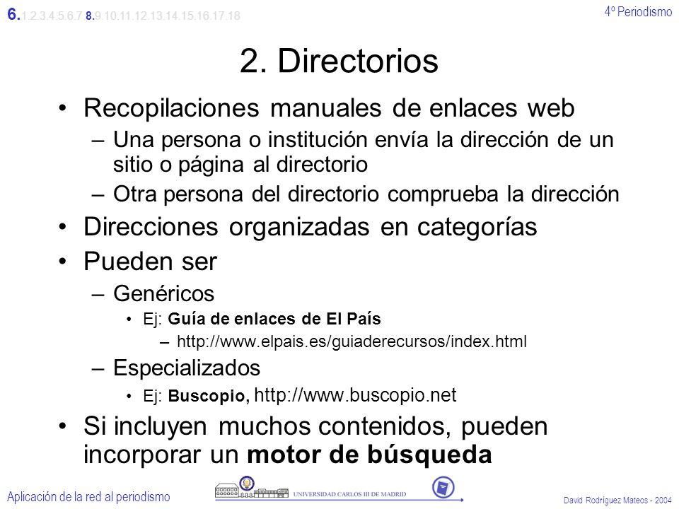4º Periodismo Aplicación de la red al periodismo David Rodríguez Mateos - 2004 2.